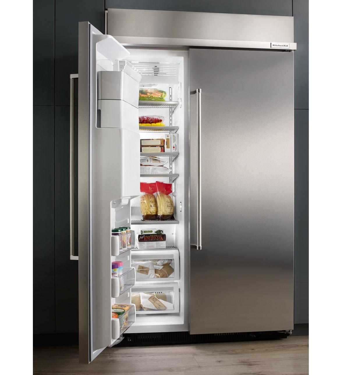 Shop Kitchenaid 24 8 Cu Ft Side By Side Refrigerator With: Kitchenaid Kbsd608ebs