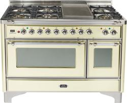 Brand: Ilve, Model: UM120FDMPMX, Color: Antique White with Chrome Trim