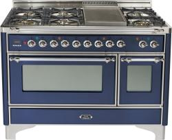 Brand: Ilve, Model: UM120FDMPMX, Color: Midnight Blue with Chrome Trim