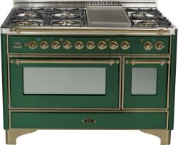 Brand: Ilve, Model: UM120FDMPMX, Color: Emerald Green with Brass Trim