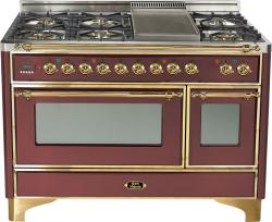 Brand: Ilve, Model: UM120FDMPMX, Color: Burgundy with Brass Trim