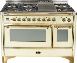 Brand: Ilve, Model: UM120FDMPMX, Color: Antique White with Brass Trim