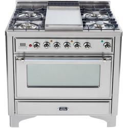 Brand: Ilve, Model: UM90FDVGGB, Color: Stainless Steel, Chrome Trim