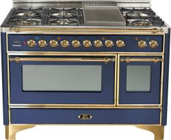 Brand: Ilve, Model: UM120FDMPMX, Color: Midnight Blue with Brass Trim