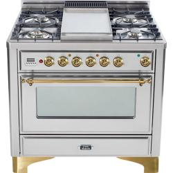 Brand: Ilve, Model: UM90FDVGGB, Color: Stainless Steel, Brass Trim