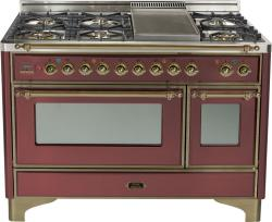 Brand: Ilve, Model: UM120FDMPBY, Color: Burgundy with Oiled Bronze Trim