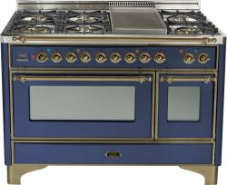 Brand: Ilve, Model: UM120FDMPBY, Color: Midnight Blue with Oiled Bronze Trim
