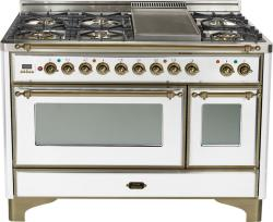 Brand: Ilve, Model: UM120FDMPBY, Color: True White with Oiled Bronze Trim