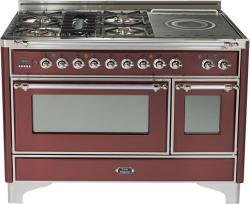 Brand: Ilve, Model: UM120SDMPMX, Color: Burgundy with Chrome Trim