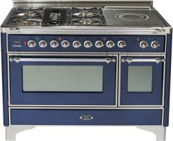 Brand: Ilve, Model: UM120SDMPMX, Color: Midnight Blue with Chrome Trim