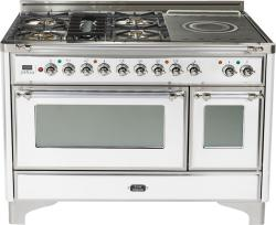 Brand: Ilve, Model: UM120SDMPRBX, Color: True White with Chrome Trim