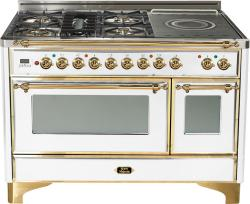 Brand: Ilve, Model: UM120SDMPRBX, Color: True White with Brass Trim