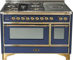 Brand: Ilve, Model: UM120SDMPMX, Color: Midnight Blue with Brass Trim