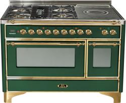 Brand: Ilve, Model: UM120SDMPRBX, Color: Emerald Green with Brass Trim