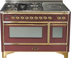 Brand: Ilve, Model: UM120SDMPMX, Color: Burgundy with Brass Trim