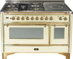 Brand: Ilve, Model: UM120SDMPMX, Color: Antique White with Brass TrimAntique White with Brass Trim