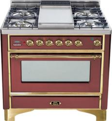 Brand: Ilve, Model: UM90FDMPRBY, Color: Burgundy with Brass Trim