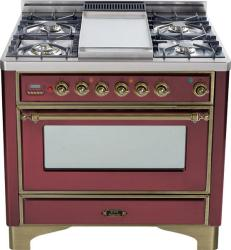 Brand: Ilve, Model: UM90FDMPRBY, Color: Burgundy with Oiled Bronze Trim