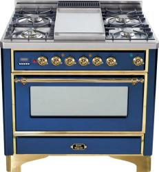 Brand: Ilve, Model: UM90FDMPRBY, Color: Midnight Blue with Brass Trim