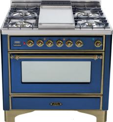 Brand: Ilve, Model: UM90FDMPRBY, Color: Midnight Blue with Oiled Bronze Trim
