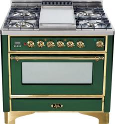 Brand: Ilve, Model: UM90FDMPRBY, Color: Emerald Green with Brass Trim