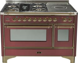 Brand: Ilve, Model: UM120SDMPMX, Color: Burgundy with Oiled Bronze Trim