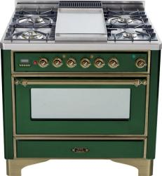 Brand: Ilve, Model: UM90FDMPRBY, Color: Emerald Green with Oiled Bronze Trim