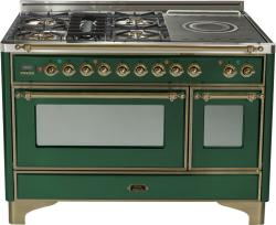 Brand: Ilve, Model: UM120SDMPMX, Color: Emerald Green with Oiled Bronze Trim