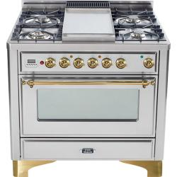 Brand: Ilve, Model: UM906DVGGB, Color: Stainless Steel, Brass Trim