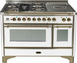 Brand: Ilve, Model: UM120SDMPMX, Color: True White with Oiled Bronze Trim