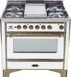 Brand: Ilve, Model: UM90FDMPRBY, Color: True White with Oiled Bronze Trim