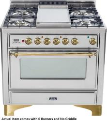 Brand: Ilve, Model: UM906DMPBY, Color: Stainless Steel with Brass Trim