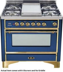 Brand: Ilve, Model: UM906DMPBY, Color: Midnight Blue with Brass Trim
