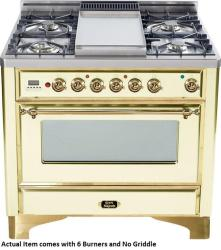 Brand: Ilve, Model: UM906DMPBY, Color: Antique White with Brass Trim