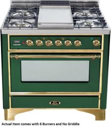 Brand: Ilve, Model: UM906DMPBY, Color: Emerald Green with Brass Trim
