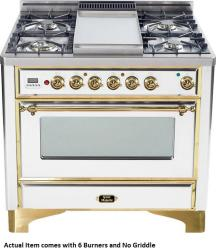 Brand: Ilve, Model: UM906DMPBY, Color: True White with Brass Trim