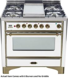 Brand: Ilve, Model: UM906DMPBY, Color: True White with Oiled Bronze Trim