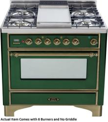 Brand: Ilve, Model: UM906DMPBY, Color: Emerald Green with Oiled Bronze Trim