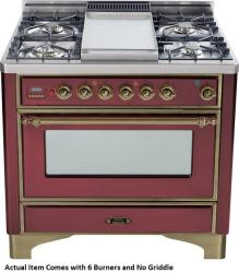 Brand: Ilve, Model: UM906DMPBY, Color: Burgundy with Oiled Bronze Trim