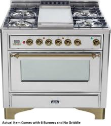 Brand: Ilve, Model: UM906DMPBY, Color: Stainless Steel with Oiled Bronze Trim