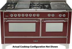 Brand: Ilve, Model: UM150SDMPMX, Color: Burgundy with Chrome Trim