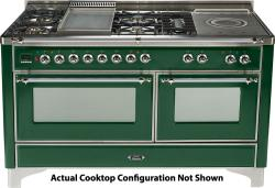Brand: Ilve, Model: UM150SDMPMX, Color: Emerald Green with Chrome Trim