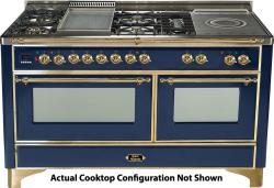 Brand: Ilve, Model: UM150SDMPMX, Color: Midnight Blue with Brass Trim