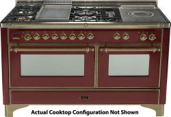 Brand: Ilve, Model: UM150SDMPMX, Color: Burgundy with Oiled Bronze Trim
