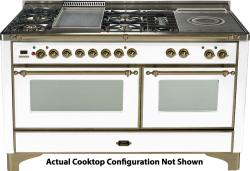 Brand: Ilve, Model: UM150SDMPMX, Color: True White with Oiled Bronze Trim