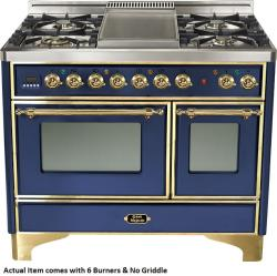 Brand: Ilve, Model: UMD100SDMPVSY, Color: Midnight Blue with Brass Trim