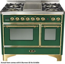 Brand: Ilve, Model: UMD100SDMPVSY, Color: Emerald Green with Brass Trim