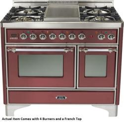 Brand: Ilve, Model: UMD100SDMPVSY, Color: Burgundy with Chrome Trim