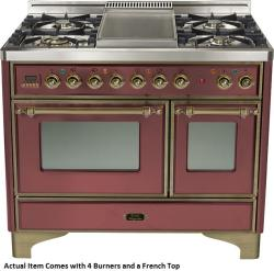 Brand: Ilve, Model: UMD100SDMPVSY, Color: Burgundy with Oiled Bronze Trim