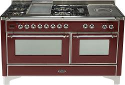 Brand: Ilve, Model: UM150FSDMPM, Color: Burgundy with Chrome Trim